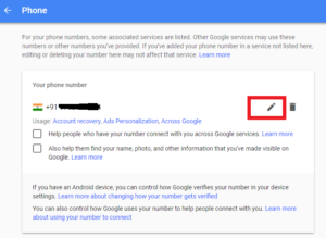 Gmail account Number Change