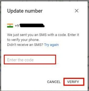 gmail account mobile number change