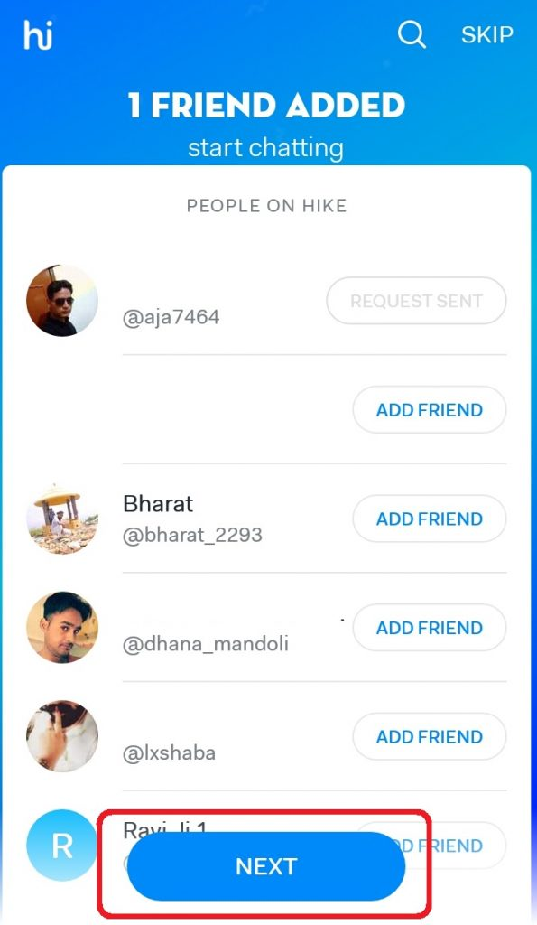 How to add Friend in hike