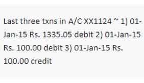 IDFC first bank Mini statement by sms